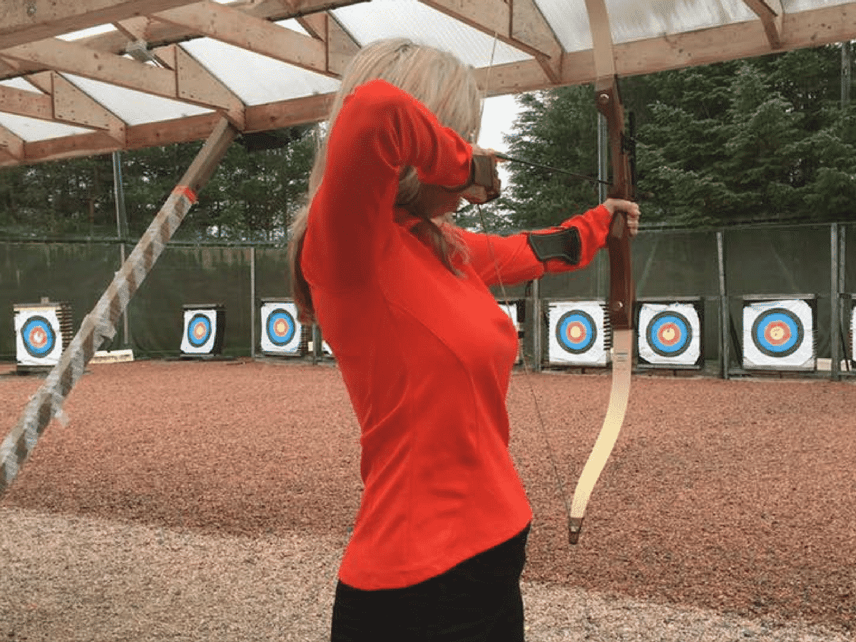 Leslie Doing Archery In Scotland